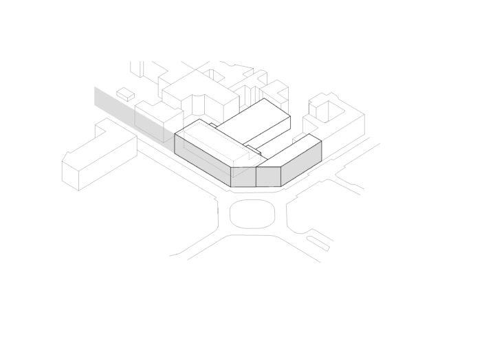 Neubaumaßnahme das bestehende Gebäude zu vereinnahmen